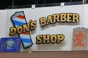 Don's Barber Shop, Enamel and Leaf on Glass